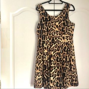 Leopard Print Fit + Flare Dress size 10